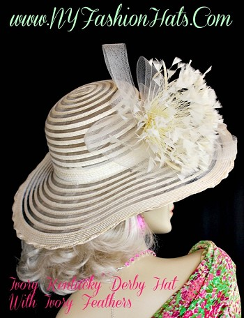 Ivory Wedding Kentucky Derby Dress Hat With Feathers NY Fashion Hats