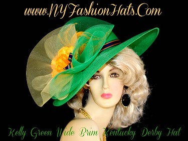 Ladies Kelly Green Gold Yellow Blue Designer Hat With Flowers RM09