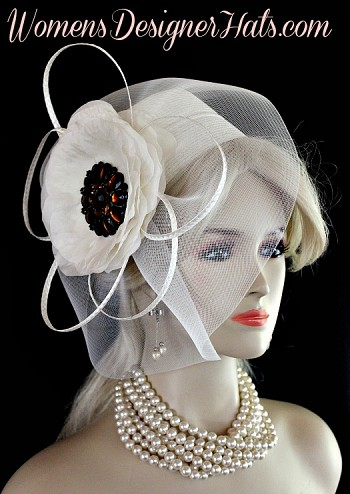 Ladies Ivory Pillbox Cocktail Hat Wedding Bridal Designer Formal Hats