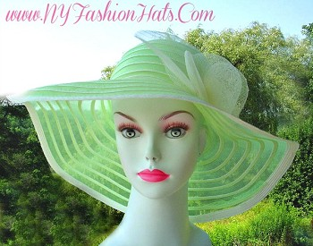 Lime Green Ivory Wide Brim Kentucky Derby Hat, Ladies Hats For Weddings