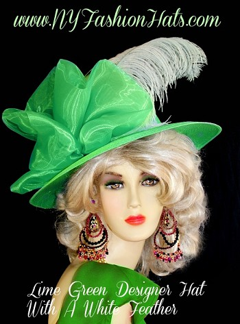 Kentucky Derby Hats Lime Green Lavender Red White Black NY Fashion Hats
