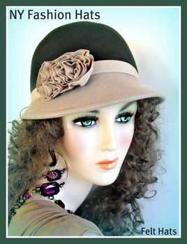 Army Green Beige Designer Winter Cloche Ladies Fashion Hat 2JB