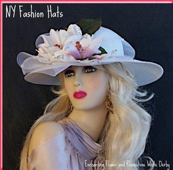 White Wide Brim Wedding Brides Formal Ladies Hat, NY Fashion Hats