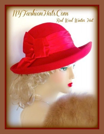 Red Black Wide Brim Winter Wool Church Hat Ladies Designer Hats 7KC