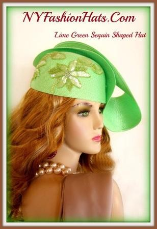 Lime Green Sequin Flower Designer Shaped Dress Hat NY Fashion Hats