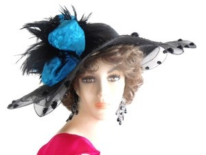 Black Fashion Designer Hat With A Blue Fabric Bow, NY Fashion Hats