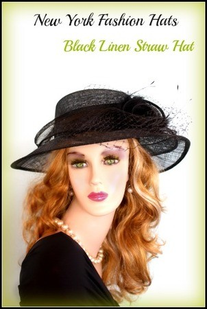 Black Or Ivory Straw Designer Hat For Spring Or Summer Time 7KGJ