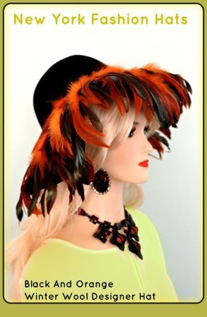 Women's Black Designer Floppy Hat With Orange Feathers NY Fashion Hats