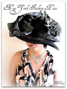 Black Wide Brim Dressy Wide Brim Hat Special Occasion Hats 4KYB