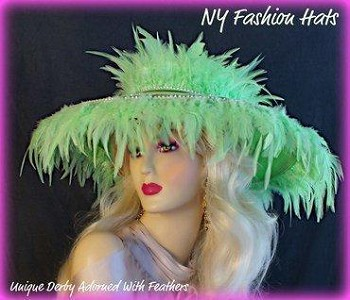 Lime Green Dress Designer Hat For Women Wide Brim Hats 9PJE