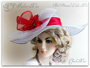 White Silver Or Gold Red Wide Brim Dress Hat Women NYFashion 7QCL