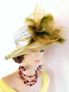 Green And Yellow Fashion Designer Dressy Formal  Ladies Hat 3EBT