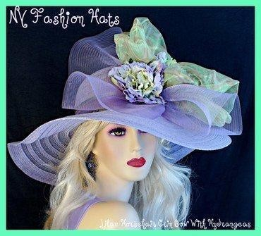 Ladies Lavender Purple Lime Green Gold Designer Hat, NY Fashion Hats