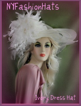 Ivory Designer Hat For Women With Feathers For Special Occasion 3GTY