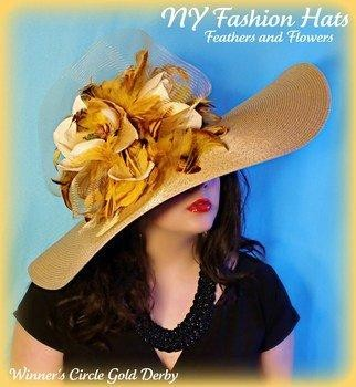 Gold Fashion Designer Dressy Wide Brim Ladies Hat Weddings 7VUL