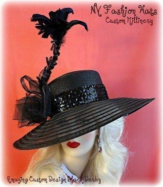 Black Wide Brim Vogue Designer Hat Ladies Formal Fashion Hats 4D