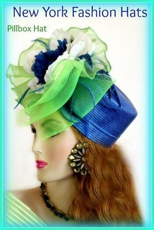 Royal Blue Lime Green Pillbox Hat Special Occasion Dress Hats 8LMY