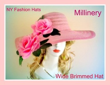 Pink Wide Brim Designer Hat With Roses Ladies Spring Hats 3QPZ