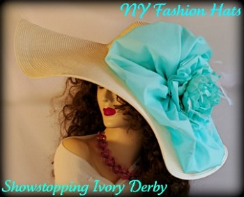Ivory Aqua Turquoise Blue Wide Brim Designer Hat Ladies Hats 4JZV