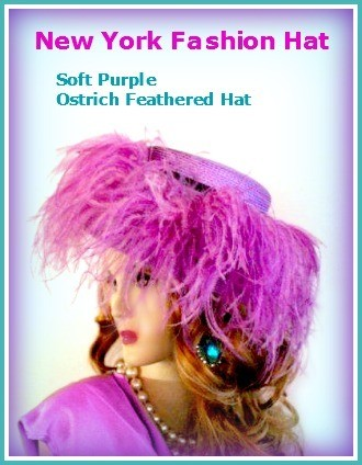 Purple Designer Dressy Hat With Feathers Ladies Designer Church Hats 9YS