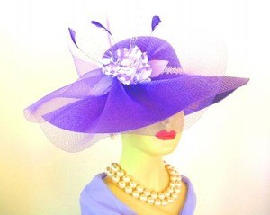 Women's Purple Designer Hat With A White Rose Feathers NY Fashion Hats