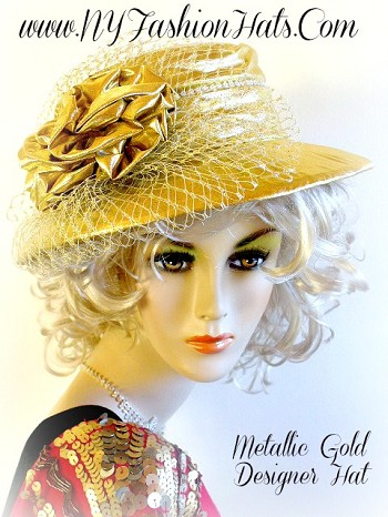 Gold Lame Fashion Hat For Women Dressy Designer Hats 4YMZ