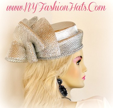 Metallic Gold Or Silver Designer Pillbox Fashion Hat Wedding Hats VT0