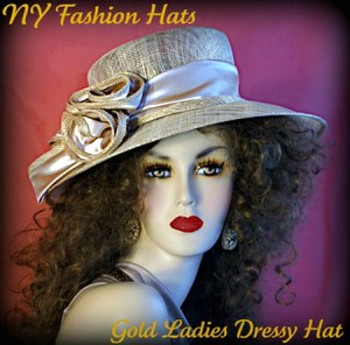 Ladies Champagne Gold Sinamay Straw Kentucky Derby Hat Spring Dress Hats