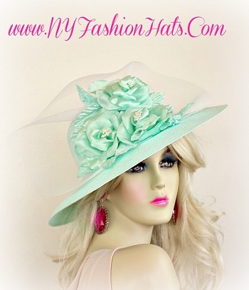 Mint Green Formal Ladies Designer Church Hat With Roses Hats