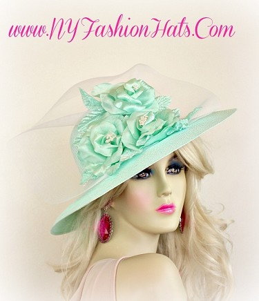 Mint Green Formal Ladies Designer Church Hat With Roses 3D Hats