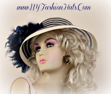 Ladies Navy Blue And Ivory Dressy Kentucky Derby Hat With Feathers 2HNQ