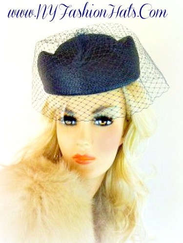 Navy Blue Pillbox Designer Church Hat For Women Dress Veil Hats KP9