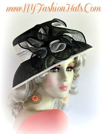 Black And Ivory Fashion Hat Designer Dressy Formal Ladies Hats 3BY