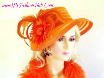 Orange Formal Beauty Classic Church Hat Designer Fashion Hats 445