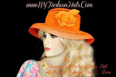 Women's Orange Sheer Dress Church Hat With A Rose NY Fashion Hats