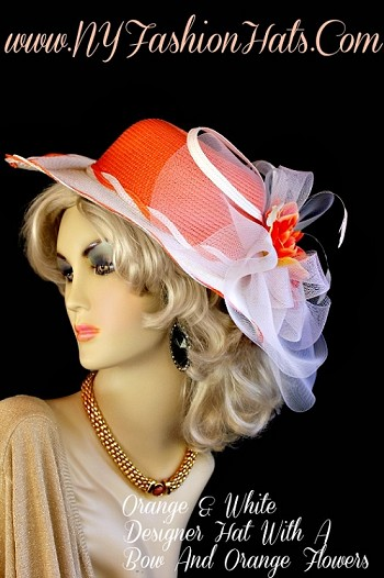 Ladies Orange White Yellow Kentucky Derby Hat NY Fashion Hats HT34