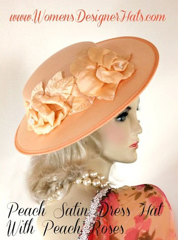 Peach Satin Brim Hat With Roses Kentucky Derby Ladies Dress Hats