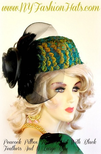 Women's Teal Blue Green Gold Lime Copper Brown Pillbox Peacock Hat