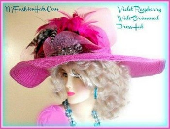Raspberry Pink Violet Fashion Wide Brim Church Hat Ladies Hats 9KLZ