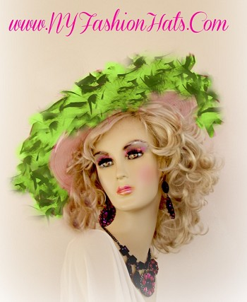 Ladies Pink And Hunter Lime Green Designer Hat Millinery Hats RZ70