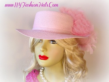 Ladies Pink Or Red Designer Small Brim Hat With Custom Feathers Y72
