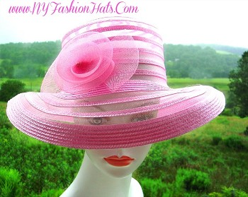 Ladies Designer Pink Wedding Church Hat Derby Fashion Hats KJ81