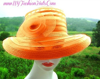 Orange Ladies Designer Sheer Wedding Church Hat Fashion Hats 9LWM