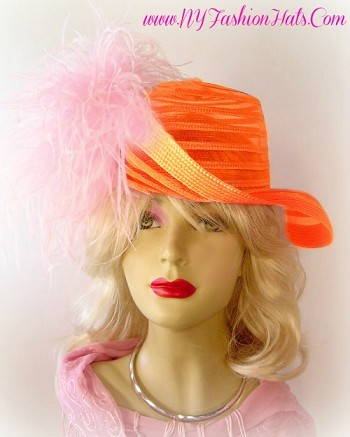 Ladies Designer Church Hat Black Ivory White Pink Orange Hats V556