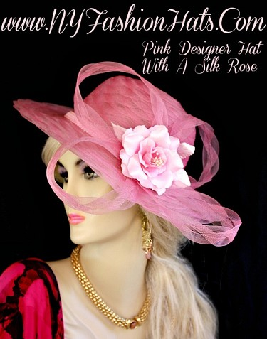 Kentucky Derby Hats Pink Designer Dress Church Hat NY Fashion Hats