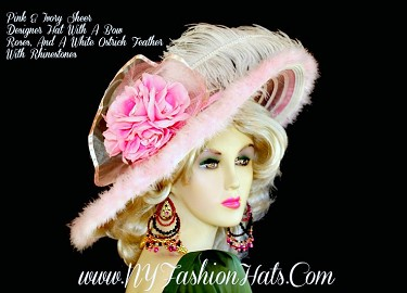 Kentucky Derby Hats Pink Ivory Designer Church Hat NY Fashion Hats