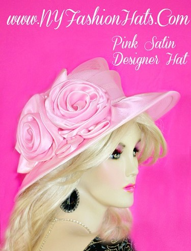 Pink Satin Designer Women's Special Occasion Fashion Hat Dressy Hats