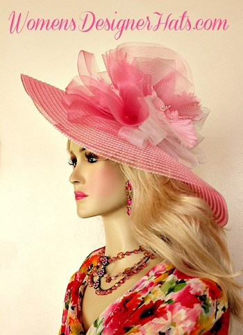 Pink White Wide Brim Kentucky Derby Oaks Hat, Womens Fashion Hats K21