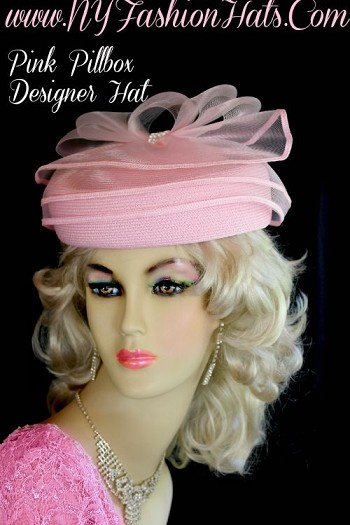 Ladies Designer Pink Pillbox Fashion Hat Wedding Church Holiday Hats