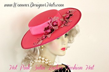 Hot Pink Satin Designer Kentucky Derby Hat, Ladies Designer Hats